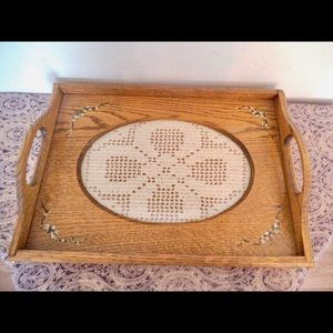Vintage Farm Cottage Wooden Tray with inset Dollie